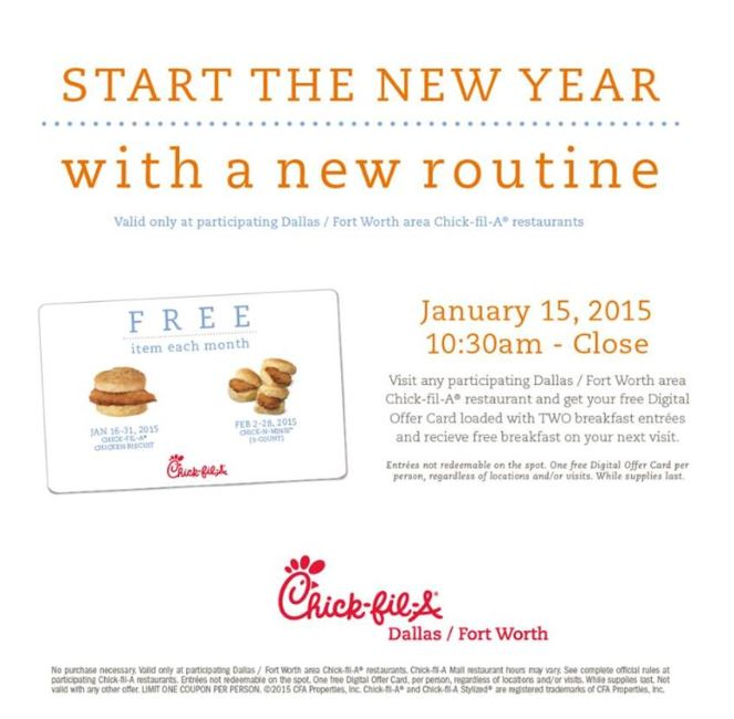 Chick-fil-A: Get Digital Card For 2 FREE Breakfast Entrees