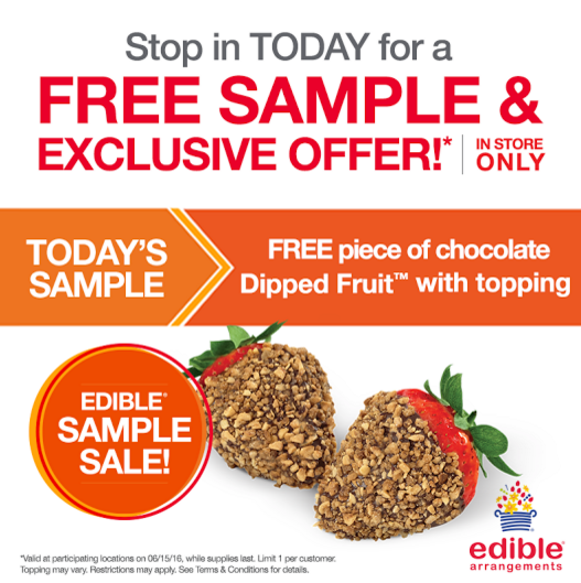 Dipped fruit with topping at edible arrangements today 6 15 only