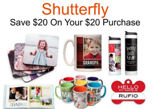 Shutterfly $20 off coupon code