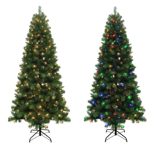 Lowe S 7 5 Ft Alpine Artificial Christmas Tree With Color
