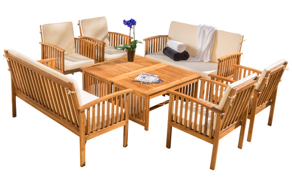 line Deal8 Piece Bettie Acacia Wood Patio Furniture Group ly $583 99 re